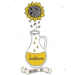 Sunflower oil in bottle vector