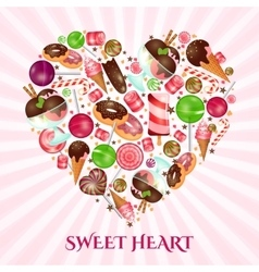 Sweet heart poster for sweet shop vector image vector image