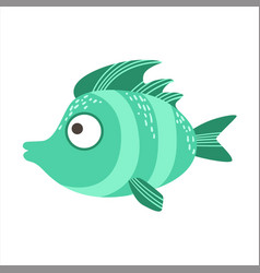 Turquoise stripy fantastic colorful aquarium fish vector