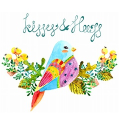 Watercolor beautiful bird and flowers vector image