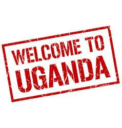 Welcome to uganda stamp vector