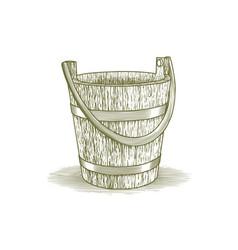 woodcut wooden farm bucket vector image