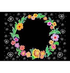 Wreath from abstract flowers vector image vector image
