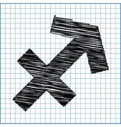 Zodiac sign sagittarius with pen effect on paper vector