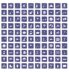 100 kids activity icons set grunge sapphire vector image vector image