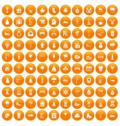100 winter holidays icons set orange vector image