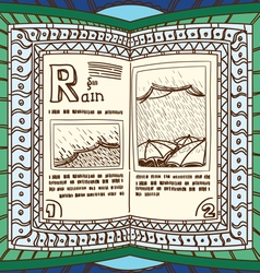 Ornamented magic book with page of rain vector