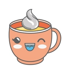 Delicious coffee drink kawaii style isolated icon vector