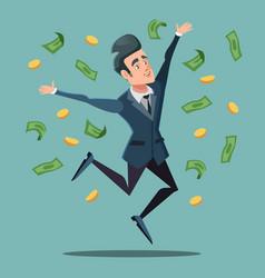 happy businessman jumping under money rain vector image