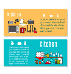 Kitchen horizontal flyers in cartoon style vector