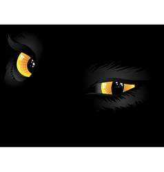 Yellow cat eyes in the dark vector