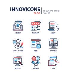 Blog - modern line design icons set vector