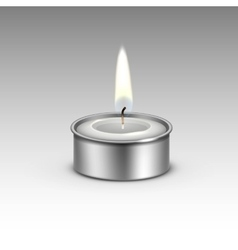 Candle in the metal candlestick flame fire light vector