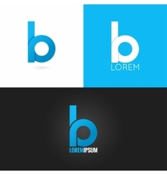 Letter b logo design icon set background vector