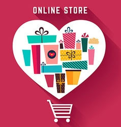 Holiday gifts in heart shape vector image