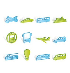 Travel and transportation of people icons vector
