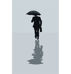 Man walking in the rain vector