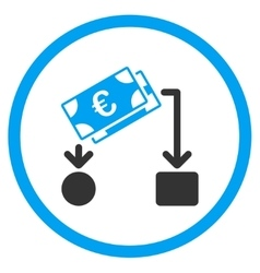 Euro cash flow rounded icon vector