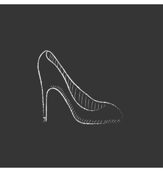 Heel shoe drawn in chalk icon vector