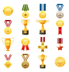 award icons set cartoon style vector image