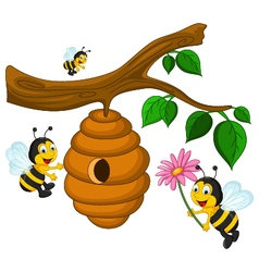 Bees cartoon holding flower and a beehive vector image vector image