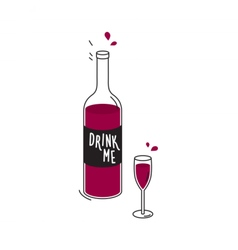 Bottle of red wine and wineglass drawing vector