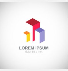 building cube colored business logo vector image