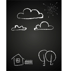Childrens drawing of clouds in chalk vector
