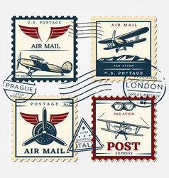 Colorful aircraft postage square stamps set vector