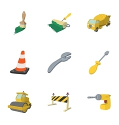 Construction of road icons set cartoon style vector
