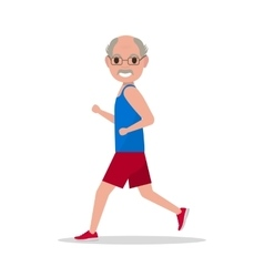 Flat cartoon old man running jogging vector