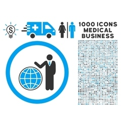 Global manager icon with 1000 medical business vector