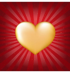 Golden Heart With Sunburst vector image vector image