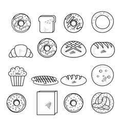 hand drawn bakery goods design vector image