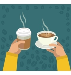 Hands with Cup Of Coffee vector image vector image