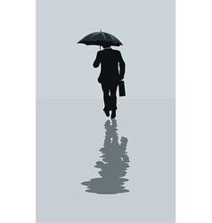 Man walking in the rain vector