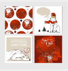 merry christmas greeting card set vector image
