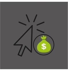 Money bag shopping online design vector