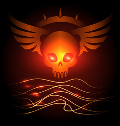 Motorbikers skull poster with shining elements vector