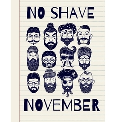 No shave november set vector