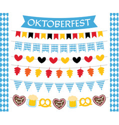 Oktoberfest flags and decoration set vector