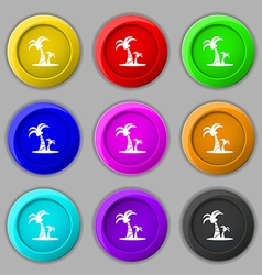 Paml icon sign symbol on nine round colourful vector