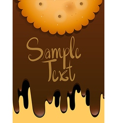 Paper design with cookie and melting chocolate vector image