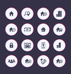 real estate icons set apartments houses for rent vector image vector image