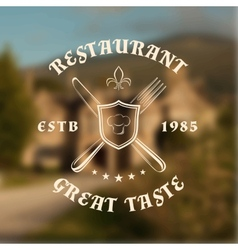 Restaurant logo template with shield knife and vector image