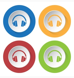 set of four icons - headphones vector image