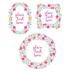 Set Of Three Floral Wreaths vector image