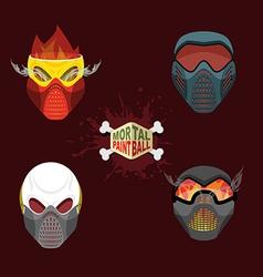 Set paintball evil mask skull mortal paintball vector