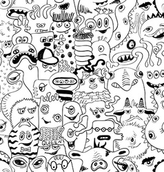 Sketch seamless pattern with funny monsters vector