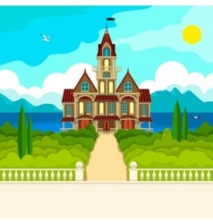 Southern landscape and castle vector